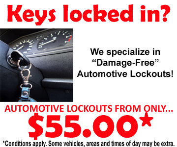 Winnipeg area Auto Car lockouts from only $55.00!
